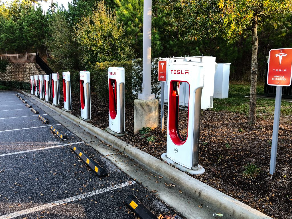 Tesla Supercharger Location in Cary, NC.