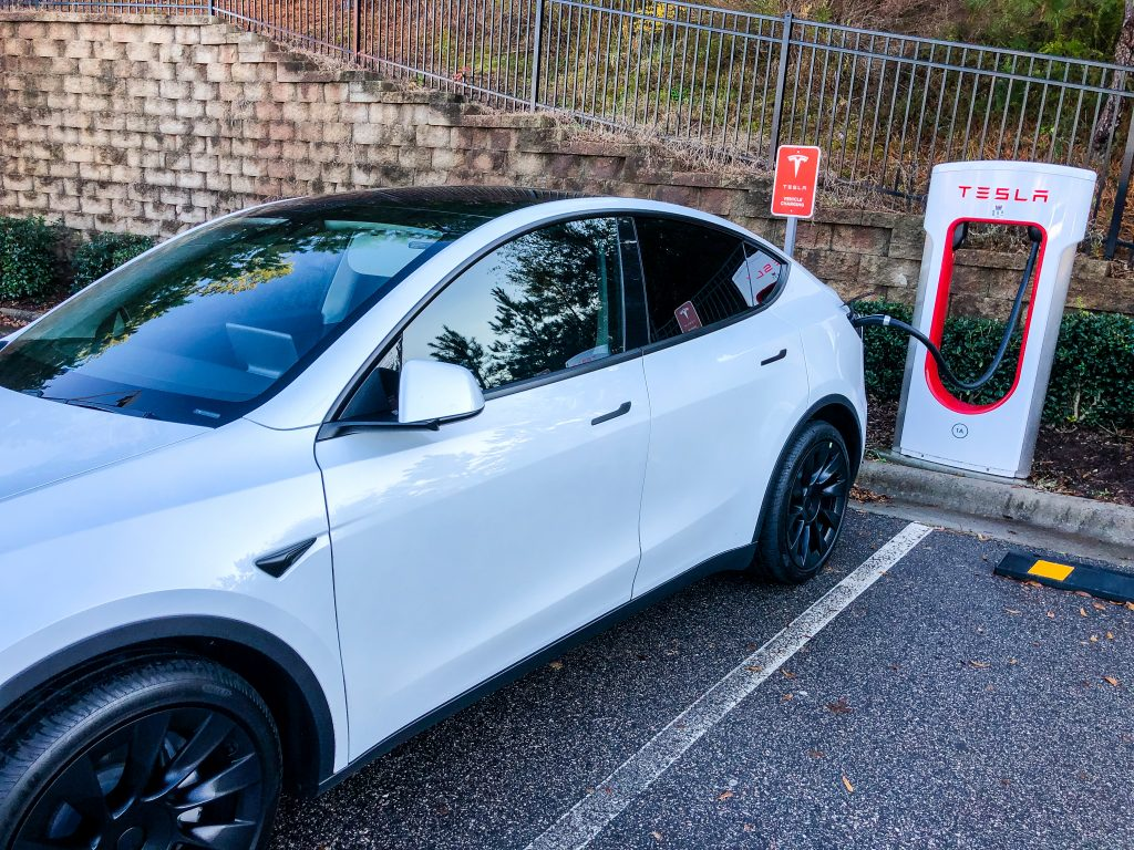 Tesla Model3 at a Tesla Supercharger Location.